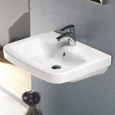 Noura 23.9 Wall Mounted Bathroom Sink with Overflow Faucet Mount: 8 Centers