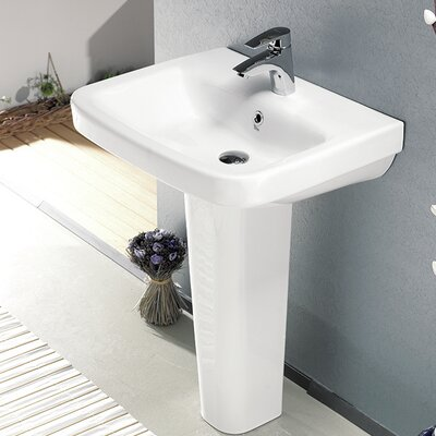 Noura Ceramic 32 Pedestal Bathroom Sink with Overflow Faucet Mount: Single