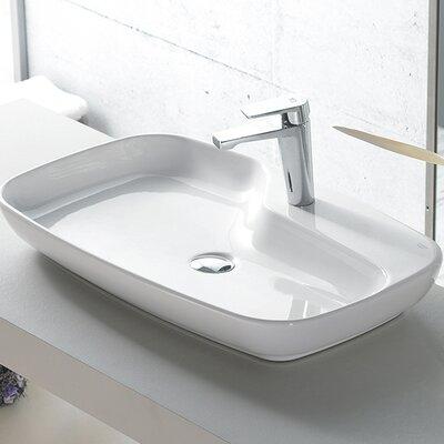 Nova Ceramic Rectangular Vessel Bathroom Sink with Overflow