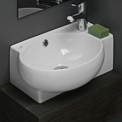 Mini Curved Ceramic 18 Wall Mount�Bathroom�Sink with Overflow