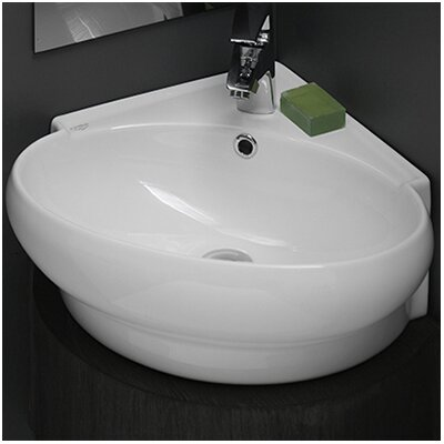 Mini Ceramic 20 Wall Mounted Bathroom Sink with Overflow