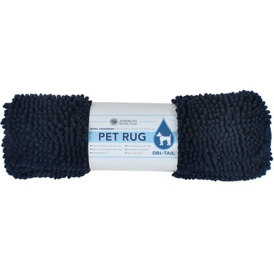 Dri-Tail Ultra Absorbent Chenille Pet Mat Color: Navy, Size: Large (26L x 36W)
