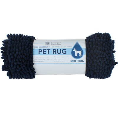 Dri-Tail Ultra Absorbent Chenille Pet Mat Size: Small (17L x 24W), Color: Navy