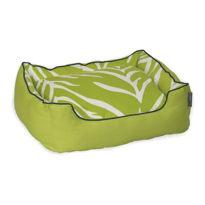 Zebra Bolster Pet Bed Size: Large (25 H x 31 W), Color: Cream on Lime