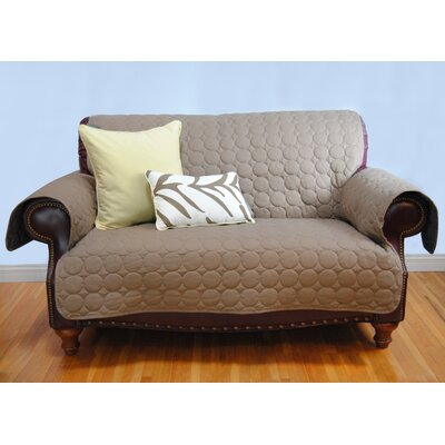 Circle Water Repellent Quilted Sofa Protector Upholstery: Brown
