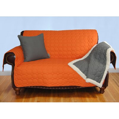Circle Water Repellent Quilted Sofa Protector Upholstery: Tangerine
