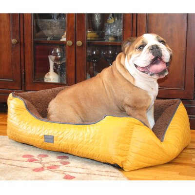 Chevron Bolster Pet Bed Color: Yellow, Size: Small (22 L x 19 W)