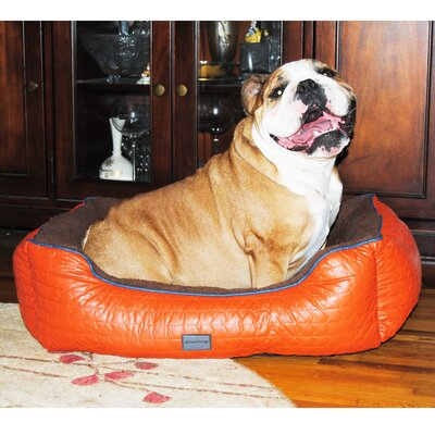 Chevron Bolster Pet Bed Size: Medium (26 L x 23 W), Color: Tangerine