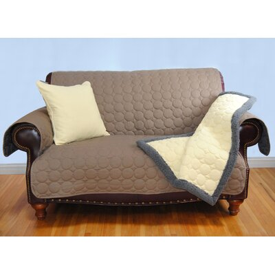 Circle Water Repellent Quilted Loveseat Protector Upholstery: Brown
