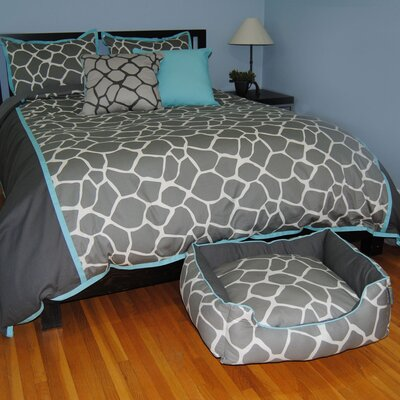 Giraffe 3 Piece Duvet Set Size: Full / Queen, Color: Grey