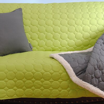 Circle Quilted Cotton Throw Size: Large (1H x 57W x 50L), Color: Lime