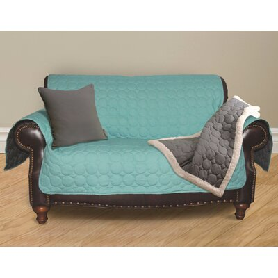 Circle Water Repellent Quilted Sofa Protector Upholstery: Turquoise