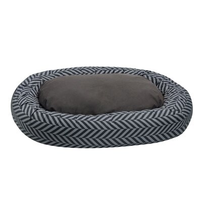 Herringbone Reversible Donut Bolster Bed Size: Large (41 L x 32 W), Color: Gray