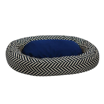 Herringbone Reversible Donut Bolster Bed Size: Extra Large (53 L x 38 W), Color: Navy