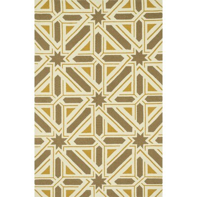 Palm Springs Hand-Hooked Taupe/Gold Indoor/Outdoor Area Rug Rug Size: 5 x 76