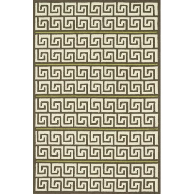 Palm Springs Hand-Hooked Brown/Green Indoor/Outdoor Area Rug Rug Size: 36 x 56