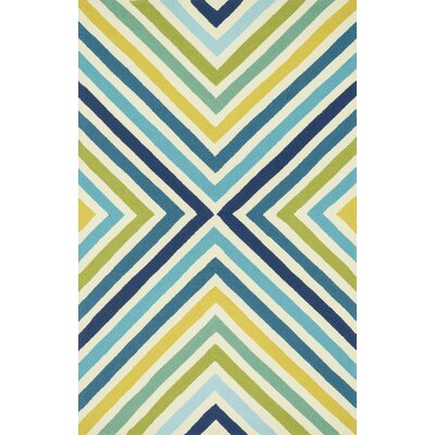 Palm Springs Hand-Hooked Blue/Yellow Indoor/Outdoor Area Rug Rug Size: 5 x 76
