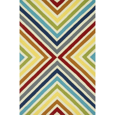Palm Springs Hand-Hooked Red/Yellow Indoor/Outdoor Area Rug Rug Size: 36 x 56