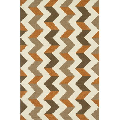 Palm Springs Hand-Hooked Brown/Orange Indoor/Outdoor Area Rug Rug Size: Rectangle 5 x 76
