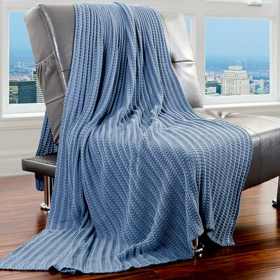 Cotton Throw Color: Blue Shadow