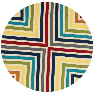 Palm Springs Hand-Hooked Red/Yellow Indoor/Outdoor Area Rug Rug Size: Round 710