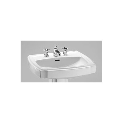 Guinevere 27 Pedestal Bathroom Sink Finish: Cotton, Faucet Mount: 8 Center