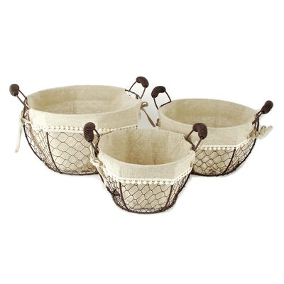 3 Piece Round Basket With Fabric Handles Set