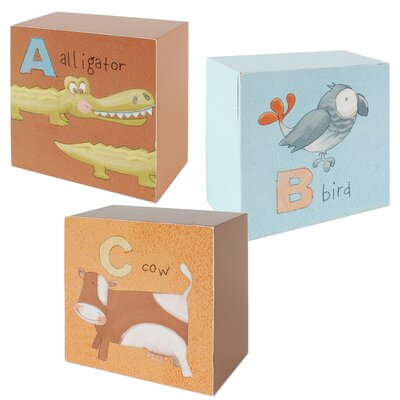 3 Piece ABC Children Pictures Block Set