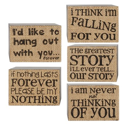 Love Box Sign by Barbara Lloyd 5 Piece Textual Art on Canvas Set 1588-37322