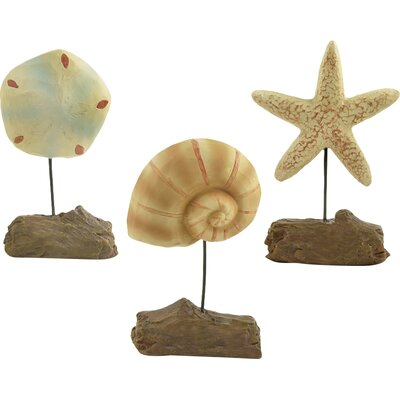 3 Piece Starfish, Shell and Sand Dollar Figurine