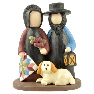 Amish Couple with Lantern and Dog Figurine 171-11015