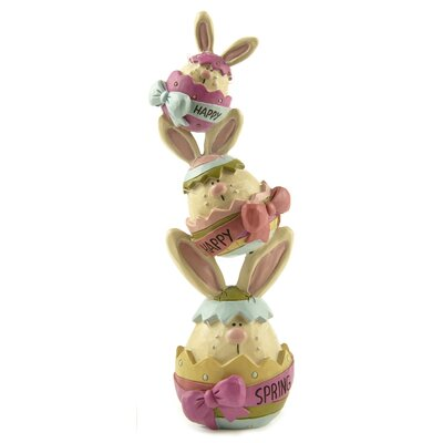 Happy Spring Stacked Bunnies Figurine