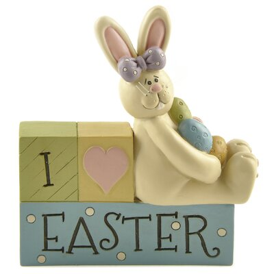 I Love Easter with Rabbits and Eggs Letter Block 171-11093