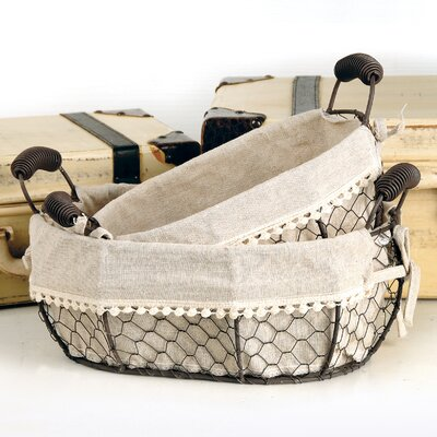 2 Piece Oval Fabric Wire Basket With Handles Set