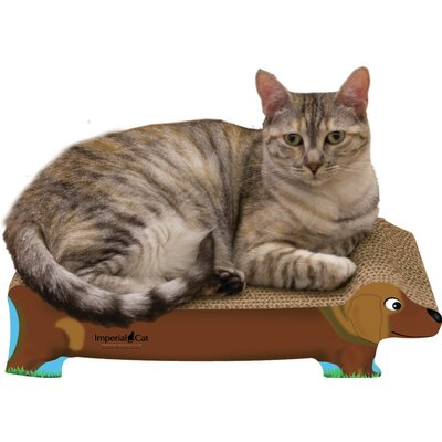 Scratch n Shapes Small Dog Recycled Paper Cat Scratching Board Pattern: Brown Dachshund