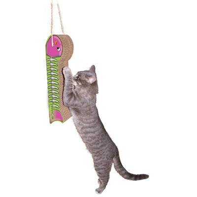 Scratch n Shapes Hanging Fish on a Line Recycled Paper Scratching Board Style: Pink & Lime