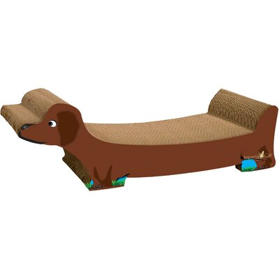 Dachshund Recycled Paper Scratching Board Color: Brown