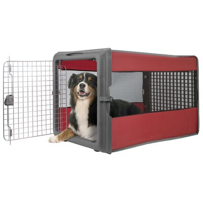 Badgett Large Pop Open Pet Crate Color: Red