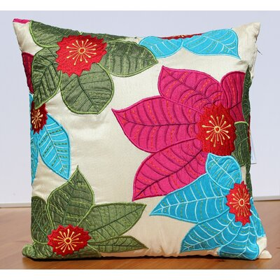 Leaf Embroidery Accent Throw Pillow