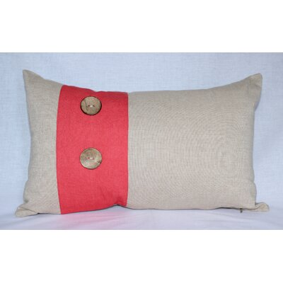 Panels Cotton Lumbar Pillow Color: Beige / Red