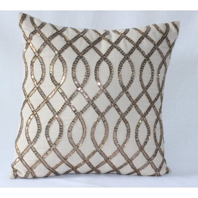 Sequence Embroidered Cotton Throw Pillow