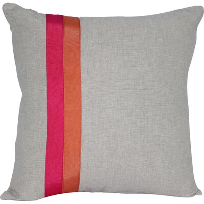 Ribbon Panel Cotton Throw Pillow