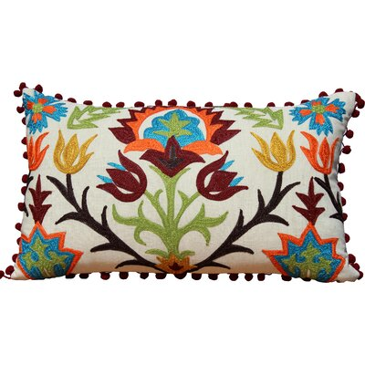 Embroidered with Pom Pom Edges Throw Pillow