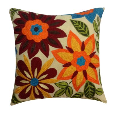 Flower Embroidery Cotton Throw Pillow