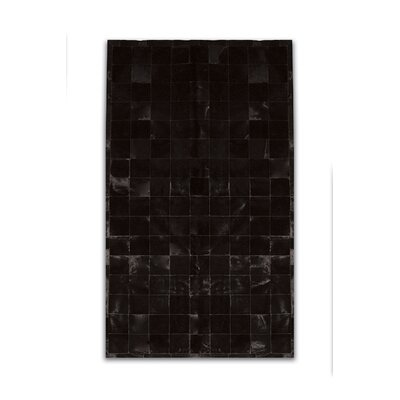 Aayush Four Square Patch Hand-Woven Cowhide Black Area Rug