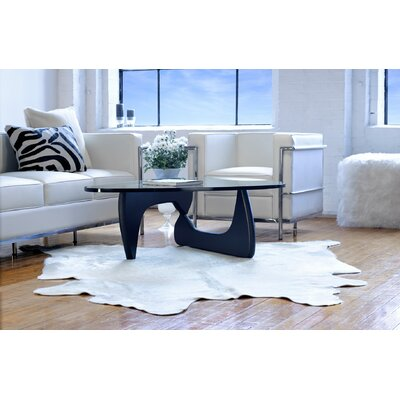 Plainsboro Hand-Woven Leather Off White Cowhide Area Rug