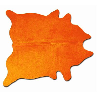 Rondon Hand Woven Cowhide Orange Area Rug