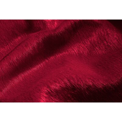 Plainsboro Hand-Woven Cowhide Burgundy Area Rug