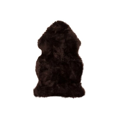 Handmade Chocolate Sheepskin Area Rug Rug Size: Rectangle 2 x 3