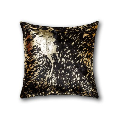 Graham Naturally Smooth Cowhide Throw Pillow Color: Chocolate/Gold